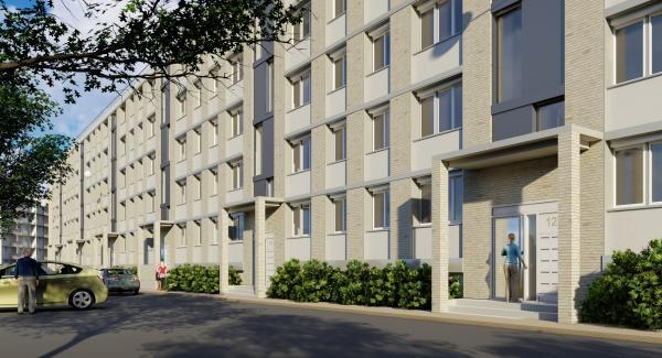 Perspective d'une façade future de la résidence Bernard de Jussieu