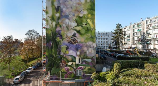 Fresque de l'artiste français Mantra quartier Bernard de Jussieu à Versailles