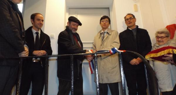 Inauguration 17 passage des deux portes Versailles : E. Le Coz, Michel Bancal, François de Mazières, Hervé Pellereau