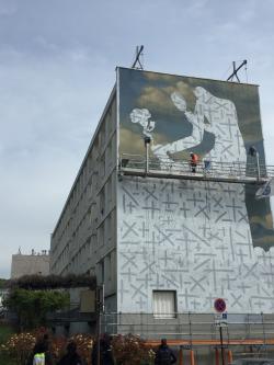 Fresque WAONE résidence Bernard de Jussieu Versailles (rue de la Ceinture, rue Jules Massenet)mai 2019