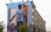 Fresque murale monumentale Jade RIVERA rue Claude Debussy Versailles